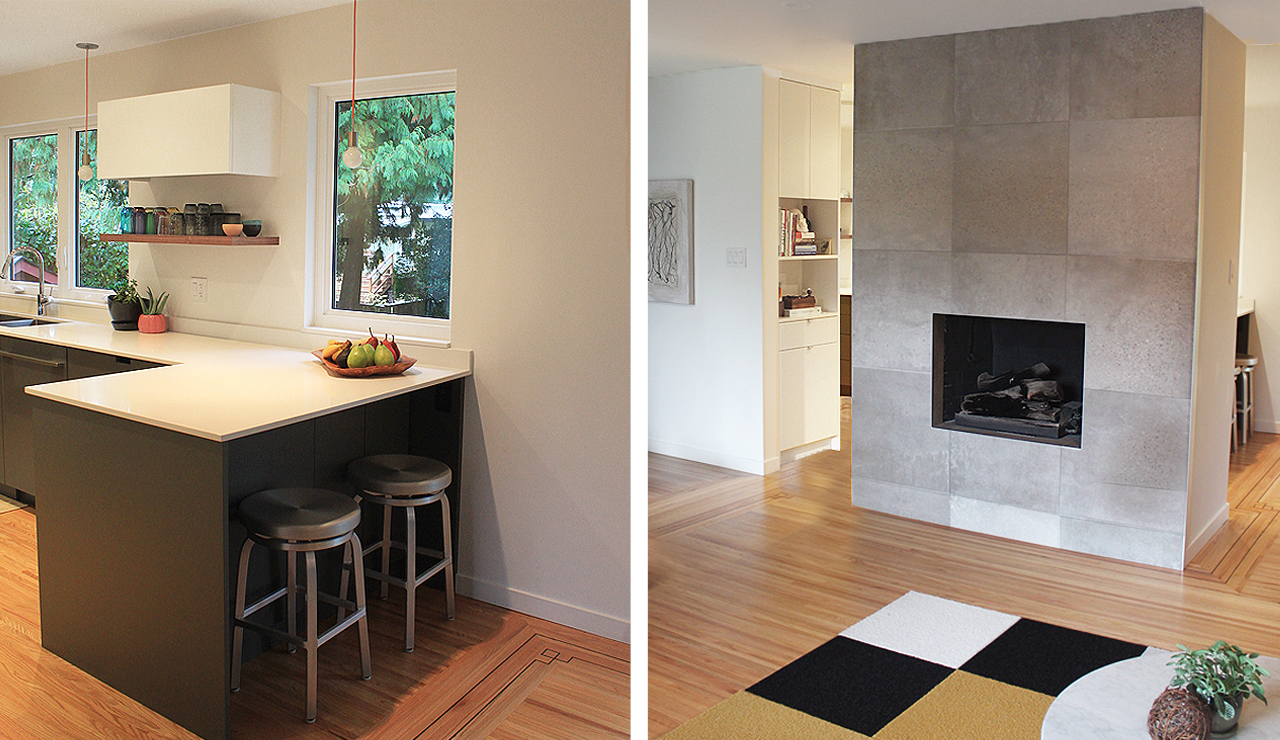 3 stools and fireplace